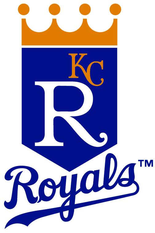 Kansas City Royals Logo Primary Logo (1979-1985) - Blue banner with a gold crown above it, a large R in white and a small KC in gold on the banner. Below is ROYALS scripted in blue SportsLogos.Net