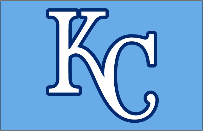 Kansas City Royals Logo Cap Logo (2010-2011) - (Alternate) KC in white with a blue outline on light blue SportsLogos.Net
