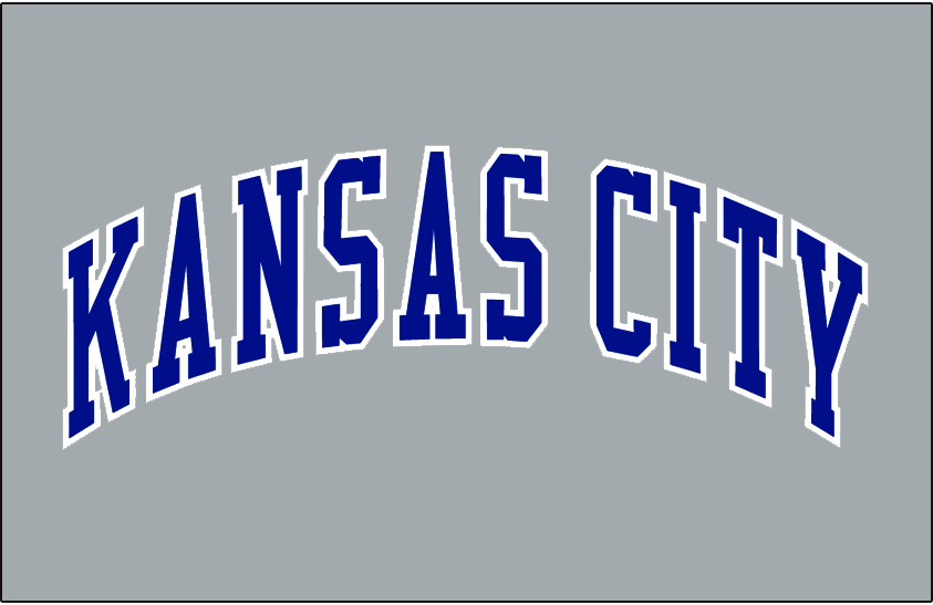 Kansas City Royals Logo Jersey Logo (1995-2001) - Kansas City in blue with a white outline on grey, worn on the Kansas City Royals road grey uniform from 1995 until 2001 SportsLogos.Net
