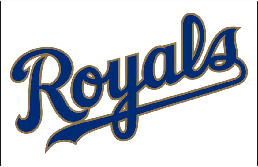 Kansas City Royals Logo Jersey Logo (2017-Pres) - Royals scripted in blue and gold, worn on front of Kansas City Royals alternate jersey starting in 2017 SportsLogos.Net