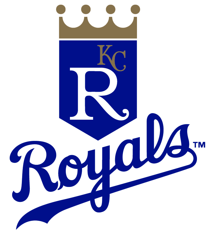 Kansas City Royals Logo Primary Logo (1993-2001) - Blue banner with a gold crown above it, a large R in white and a small KC in gold on the banner. Below is ROYALS scripted in blue SportsLogos.Net
