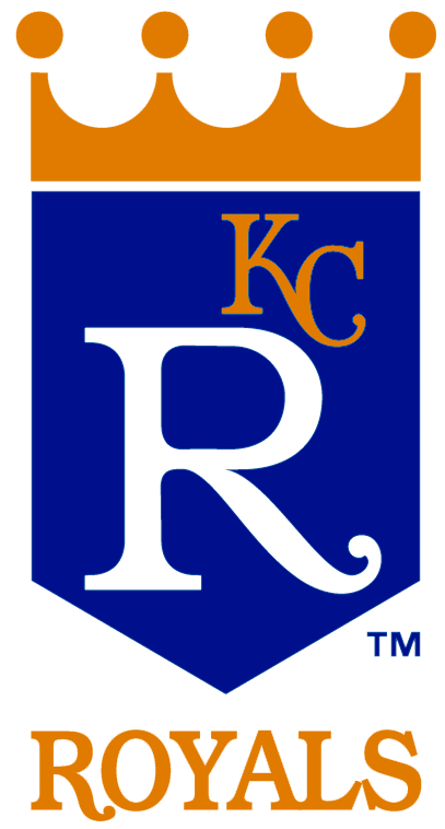 Kansas City Royals Logo Primary Logo (1969-1978) - Blue banner with a gold crown above it, a large R in white and a small KC in gold on the banner. Below is ROYALS in gold SportsLogos.Net