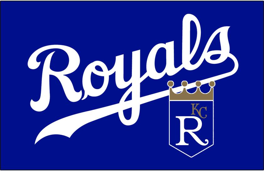 Kansas City Royals Logo Batting Practice Logo (2000) - Royals in white above the team shield logo on blue. Worn on the Kansas City Royals batting practice cap during the 2000 season only SportsLogos.Net