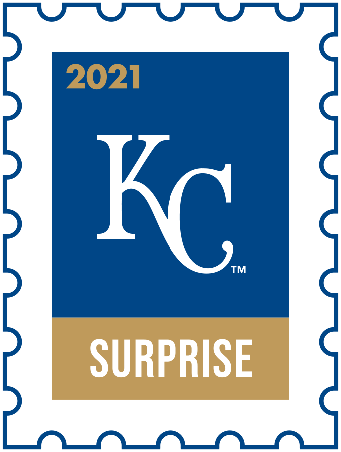 Kansas City Royals Logo Event Logo (2021) - The Kansas City Royals 2021 Spring Training logo, the design follows a league-wide style using a postage stamp in team colours with the team logo in the middle. SportsLogos.Net