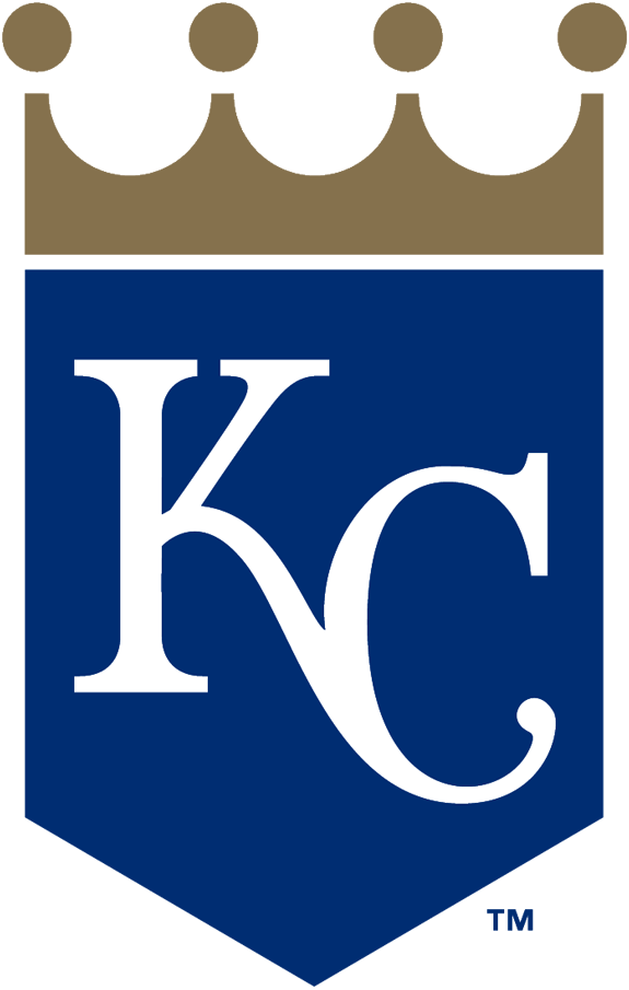 Kansas City Royals Logo Primary Logo (2019-Pres) - KC in white on a blue home plate shape with gold crown above SportsLogos.Net