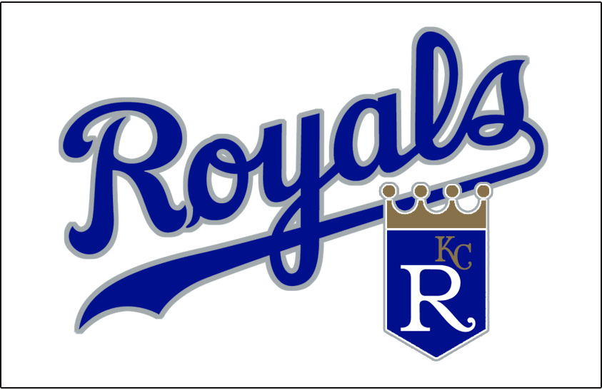 Kansas City Royals Logo Batting Practice Logo (1999) - Royals in blue with a silver outline above the team shield logo on white. Worn on the Kansas City Royals batting practice cap during the 1999 season only SportsLogos.Net