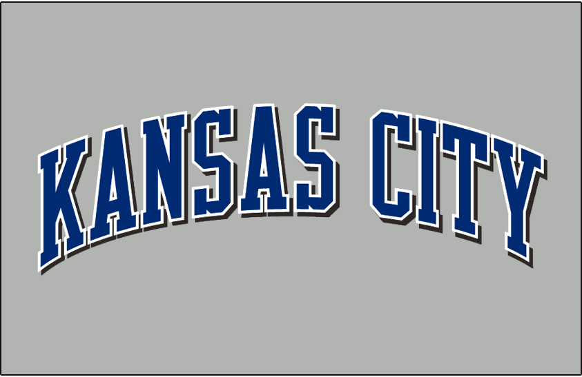 Kansas City Royals Logo Jersey Logo (2002-2005) - (Road) Kansas City in blue with a white outline and a black drop shadow on grey SportsLogos.Net