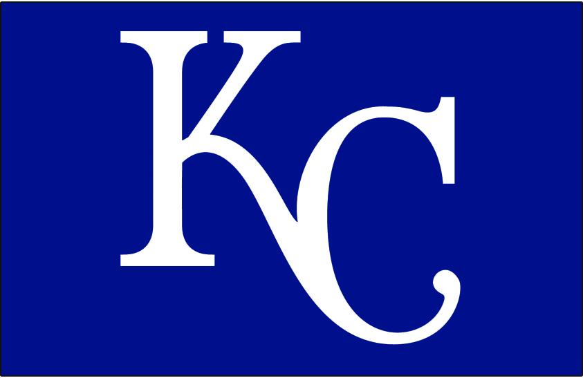 Kansas City Royals Logo Batting Practice Logo (1981-2002) - KC in white on blue, worn on the Kansas City Royals batting practice jersey from 1981 until 2002 SportsLogos.Net