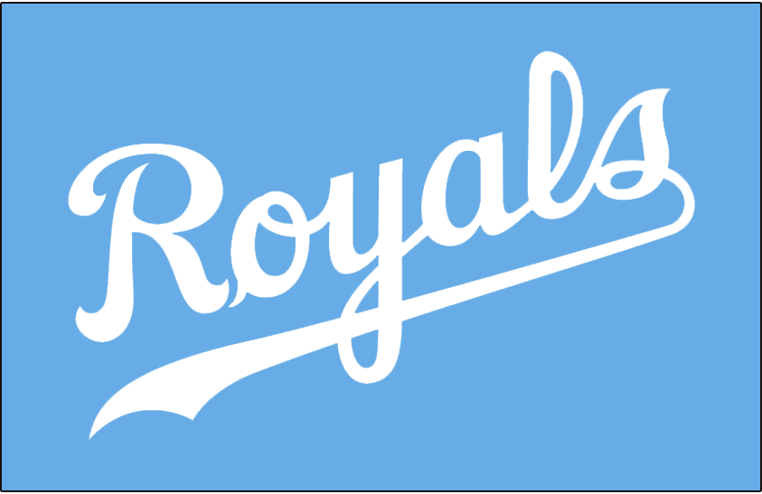 Kansas City Royals Logo Jersey Logo (1983-1991) - Royals in white on powder blue, worn on Kansas City Royals road jersey from 1983 to 1991 SportsLogos.Net