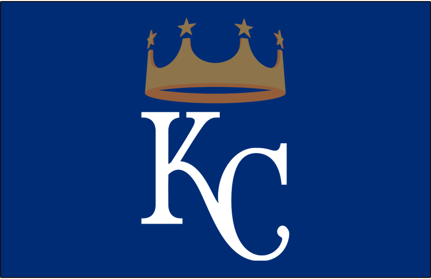 Kansas City Royals Logo Batting Practice Logo (2016-Pres) - Interlocked KC in white with a gold crown above, worn on Kansas City Royals batting practice cap only starting in 2016 SportsLogos.Net