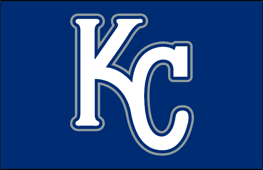Kansas City Royals Logo Batting Practice Logo (2007) - (BP) KC in white with blue and silver outlines on blue SportsLogos.Net