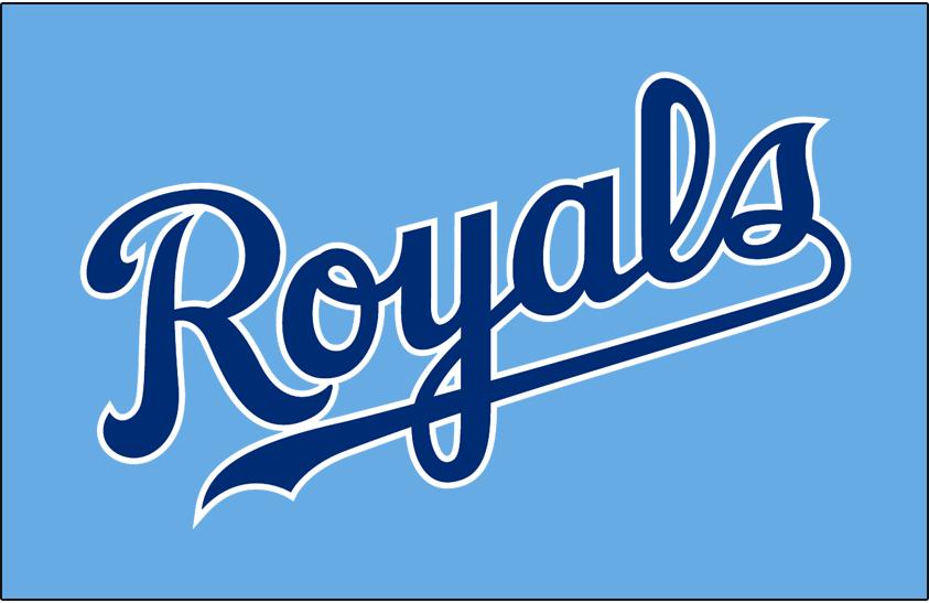 Kansas City Royals Logo Jersey Logo (2008-2011) - (Alternate) Royals scripted in blue with a white outline on light blue SportsLogos.Net