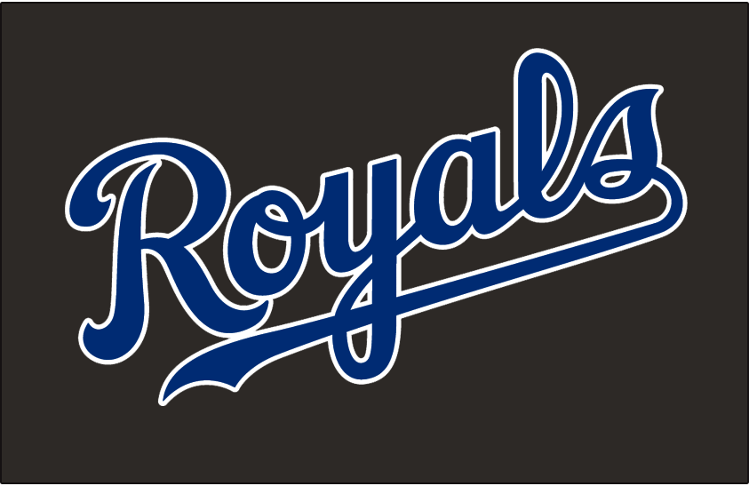 Kansas City Royals Logo Jersey Logo (2003-2005) - Royals scripted in blue with a white outline on black, worn on the Kansas City Royals black alternate jersey from 2003 until 2005 SportsLogos.Net
