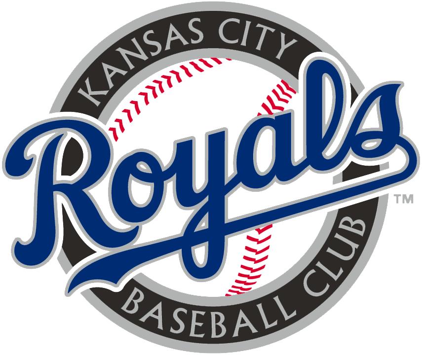 Kansas City Royals Logo Alternate Logo (2002-2005) - Royals script in blue on a baseball with black ring SportsLogos.Net