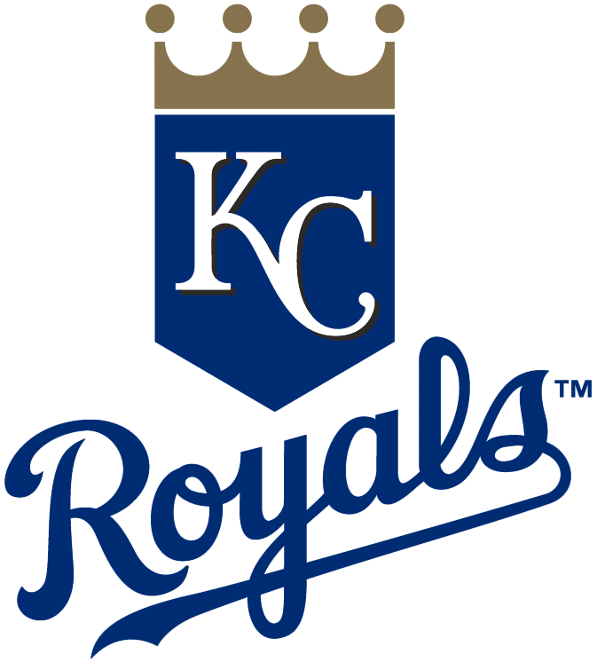 Kansas City Royals Logo Primary Logo (2002-2018) - KC on a blue shield with gold crown over blue script SportsLogos.Net