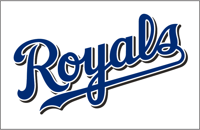 Kansas City Royals Logo Jersey Logo (2002-2005) - (Home) Royals scripted in blue with a black drop shadow SportsLogos.Net