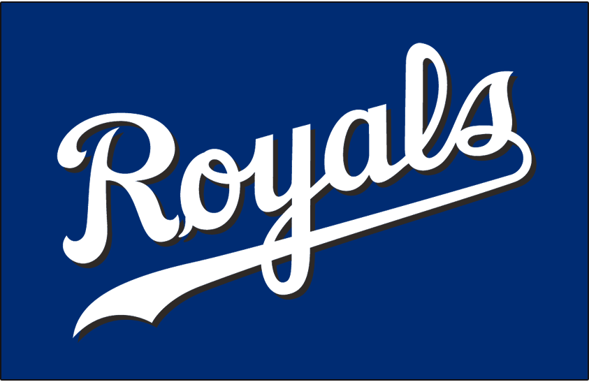 Kansas City Royals Logo Batting Practice Logo (2003-2006) - Royals scripted in white with a black drop shadow on blue, worn on the Kansas City Royals batting practice jersey from 2003 until 2006 SportsLogos.Net