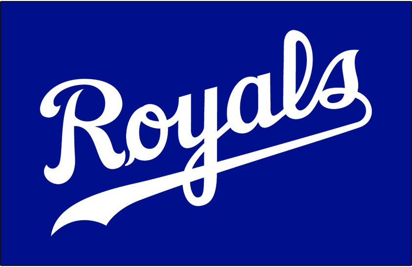 Kansas City Royals Logo Jersey Logo (1994-2001) - Royals scripted in white on blue, worn on the Kansas City Royals alternate jersey from 1994 until 2001 SportsLogos.Net