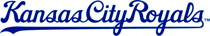 Kansas City Royals Logo Wordmark Logo (1969-2001) - Kansas City Royals scripted in blue with underscore SportsLogos.Net