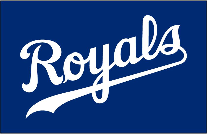 Kansas City Royals Logo Jersey Logo (2002-Pres) - Royals scripted in white on blue, worn on the Kansas City Royals alternate blue jersey since 2002 season SportsLogos.Net