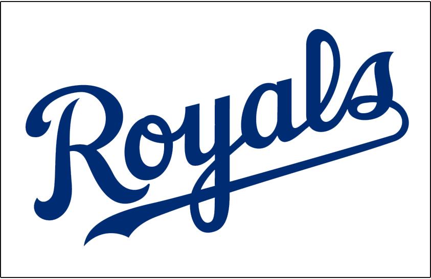 Kansas City Royals Logo Jersey Logo (2006-Pres) - (Home) Royals scripted in blue SportsLogos.Net