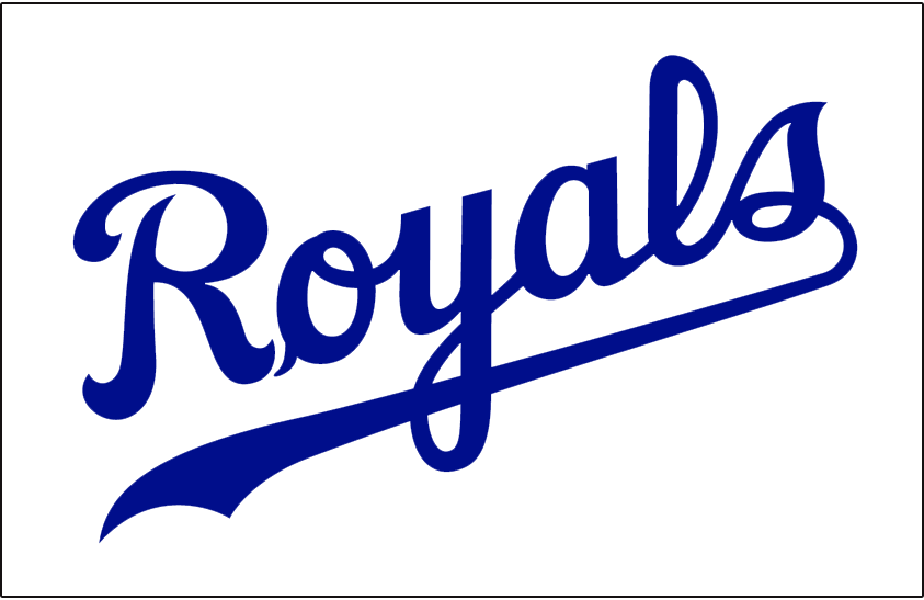 Kansas City Royals Logo Jersey Logo (1969-2001) - Royals in blue script, worn on the front of the Kansas City Royals home white uniform from 1969 until 2001 SportsLogos.Net