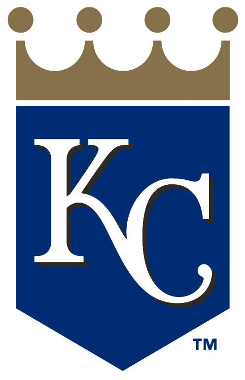 Kansas City Royals Logo Alternate Logo (2006-Pres) - 'KC' on blue shield with gold crown SportsLogos.Net
