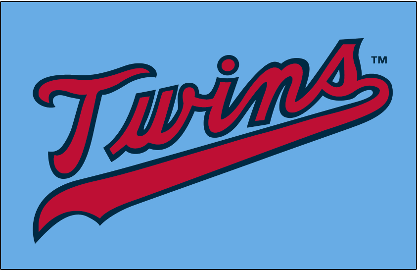 Minnesota Twins Logo Jersey Logo (1973-1986) - Twins scripted in red with a navy outline on powder blue, worn on the Minnesota Twins road jersey from 1973 to 1986 SportsLogos.Net