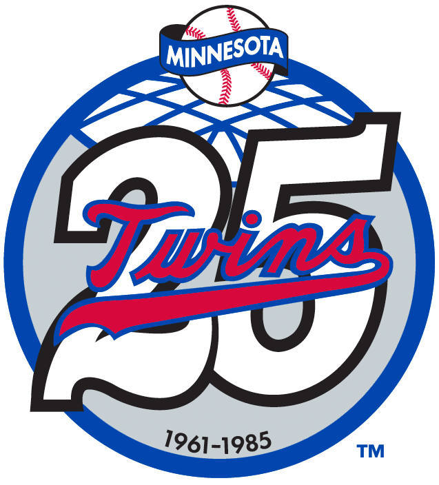 Minnesota Twins Logo Anniversary Logo (1985) - Minnesota Twins' 25th Season SportsLogos.Net