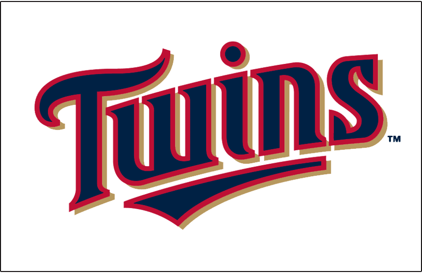 Minnesota Twins Logo Jersey Logo (2015-Pres) - Twins in blue with red trim and a Kasota gold drop shadow above an underscore below the letters spelling out WIN. Worn on Minnesota Twins home jersey starting in the 2015 season SportsLogos.Net