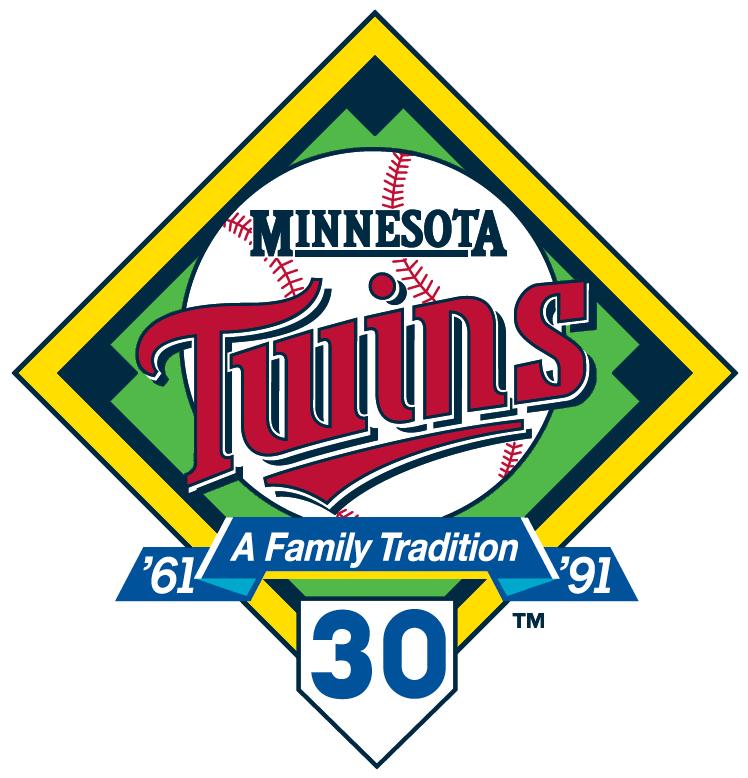 Minnesota Twins Logo Anniversary Logo (1991) - 30th Anniversary of the Minnesota Twins SportsLogos.Net