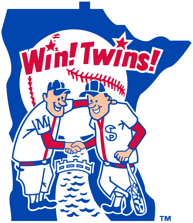 Minnesota Twins Logo Primary Logo (1976-1986) - Twins shaking hand over a river on Minnesota with Win! Twins! above SportsLogos.Net