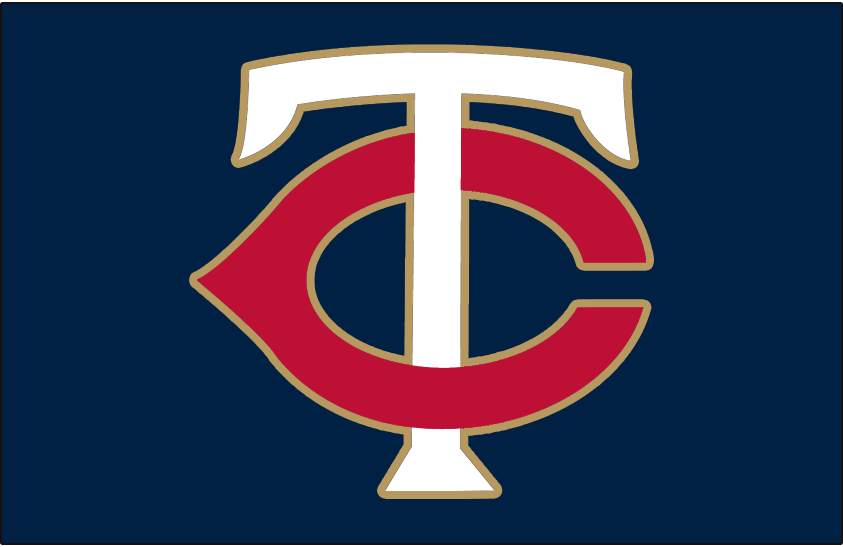 Minnesota Twins Logo Cap Logo (2015-Pres) - TC (for Twin Cities) in white and red with a gold outline on navy blue. Worn on Minnesota Twins home caps starting in the 2015 season SportsLogos.Net