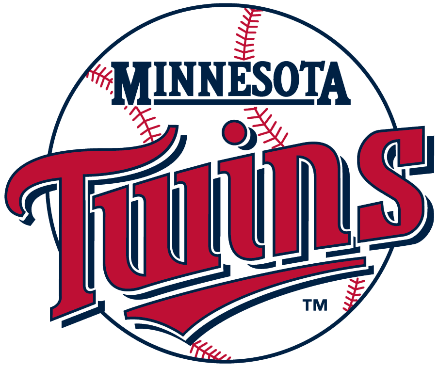 Minnesota Twins Logo Primary Logo (1987-2009) - Twins in red with underscore highlighting win on a baseball. SportsLogos.Net