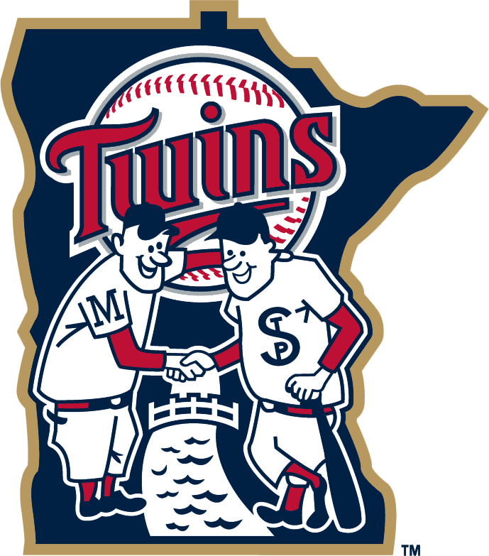 Minnesota Twins Logo Alternate Logo (2015-Pres) - Minnie and Paul characters shaking hands over the Mississippi River in front of team logo and Minnesota state silhouette. Outlined in gold starting in 2015 season, worn on sleeve of home jersey SportsLogos.Net