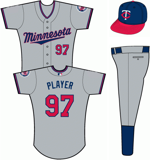 Minnesota Twins Uniform Road Uniform (2011-Pres) - Grey uniform with MINNESOTA scripted across the front in blue with red trim.  Number in red with blue trim.  Always worn with the blue and red TC cap. SportsLogos.Net