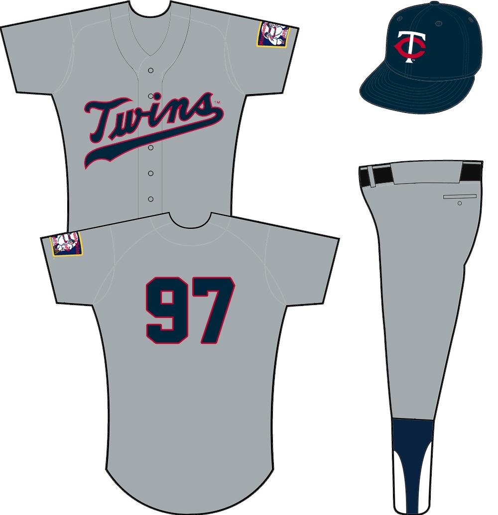Minnesota Twins Uniform Road Uniform (1961-1971) - Twins scripted across a grey jersey SportsLogos.Net