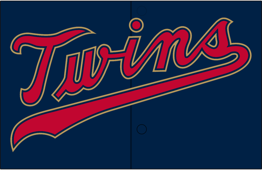 Minnesota Twins Logo Jersey Logo (2019-Pres) - Twins original wordmark in red with navy blue and Kasota gold trim on a navy blue jersey SportsLogos.Net