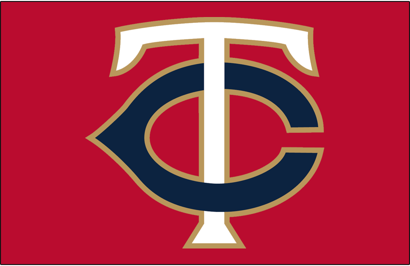 Minnesota Twins Logo Cap Logo (2017-Pres) - Alternate cap logo, TC in blue and white with gold trim on red SportsLogos.Net