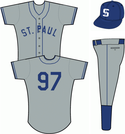 Minnesota Twins Uniform Special Event Uniform (2013) - Grey uniform with ST PAUL arched across the front in blue, worn with blue cap featuring white STP logo SportsLogos.Net