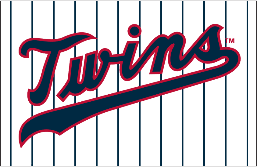 Minnesota Twins Logo Jersey Logo (1961-1971) - Twins scripted in navy with a red outline on a white uniform with navy pinstripes, worn on Minnesota Twins home jersey from 1961 to 1971 SportsLogos.Net