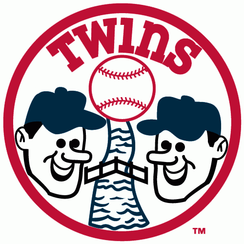 Minnesota Twins Logo Alternate Logo (1972) - Two Twins heads smiling over a river with a bridge in a circle with Twins in red SportsLogos.Net