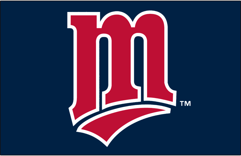Minnesota Twins Logo Cap Logo (1987-2012) - M with an underscore in red with a white outline on navy, worn on Minnesota Twins caps from 1987-2012 SportsLogos.Net