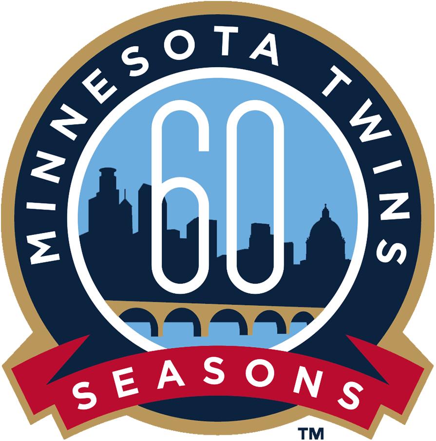 Minnesota Twins Logo Anniversary Logo (2020) - Minnesota Twins 60th season logo, worn on jersey sleeves throughout 2020 season. Logo shows Minneapolis and St Paul skylines with Stone Arch Bridge SportsLogos.Net