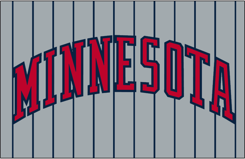 Minnesota Twins Logo Jersey Logo (1987-2009) - Minnesota in red with a navy outline on a grey uniform with navy pinstripes, worn on Minnesota Twins road jersey from 1987 to 2009 SportsLogos.Net