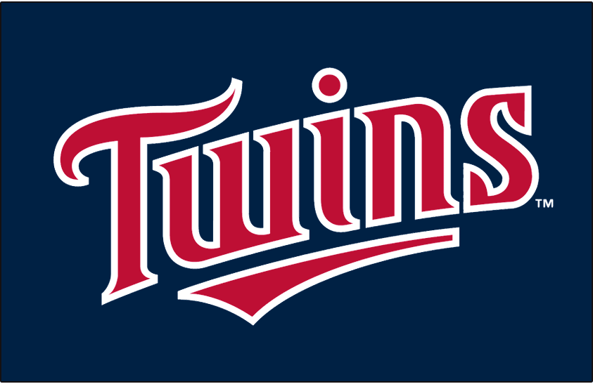 Minnesota Twins Logo Jersey Logo (2010-2013) - Twins in red with a white outline on navy, worn on the Minnesota Twins home alterante jersey from 2010 through 2013 SportsLogos.Net