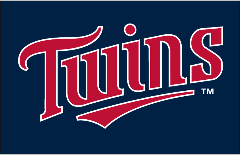 Minnesota Twins Logo Jersey Logo (1998-2009) - Twins in red with a white outline on navy, worn on Minnesota Twins home alternate jersey from 1998 through 2009 SportsLogos.Net