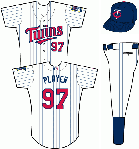 Minnesota Twins Uniform Home Uniform (2011-Pres) - White uniform with navy blue pinstripes, TWINS scripted across the front in red with blue trim SportsLogos.Net