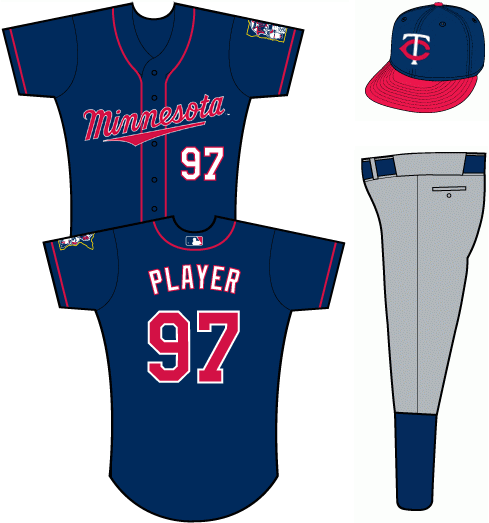 Minnesota Twins Uniform Alternate Uniform (2011-Pres) - Navy blue uniform with MINNESOTA arched across the front, worn with blue and red TC cap and grey pants SportsLogos.Net
