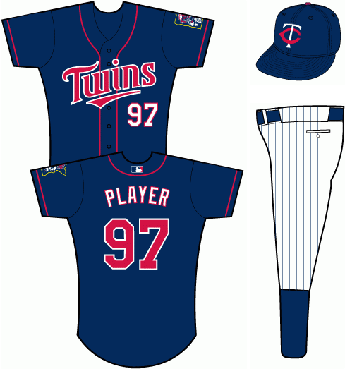 Minnesota Twins Uniform Alternate Uniform (2011-Pres) - Navy blue uniform with red piping , TWINS scripted across the front in red with white trim. SportsLogos.Net